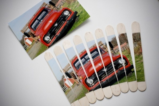DIY picture into puzzle with popsicle sticks