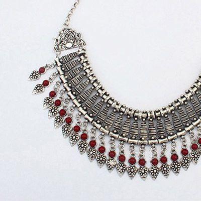 Kenevir Kırmızı Taş Desenli Çiçek Tasarım Alaşım Moda Kolye: Asujewelry.com