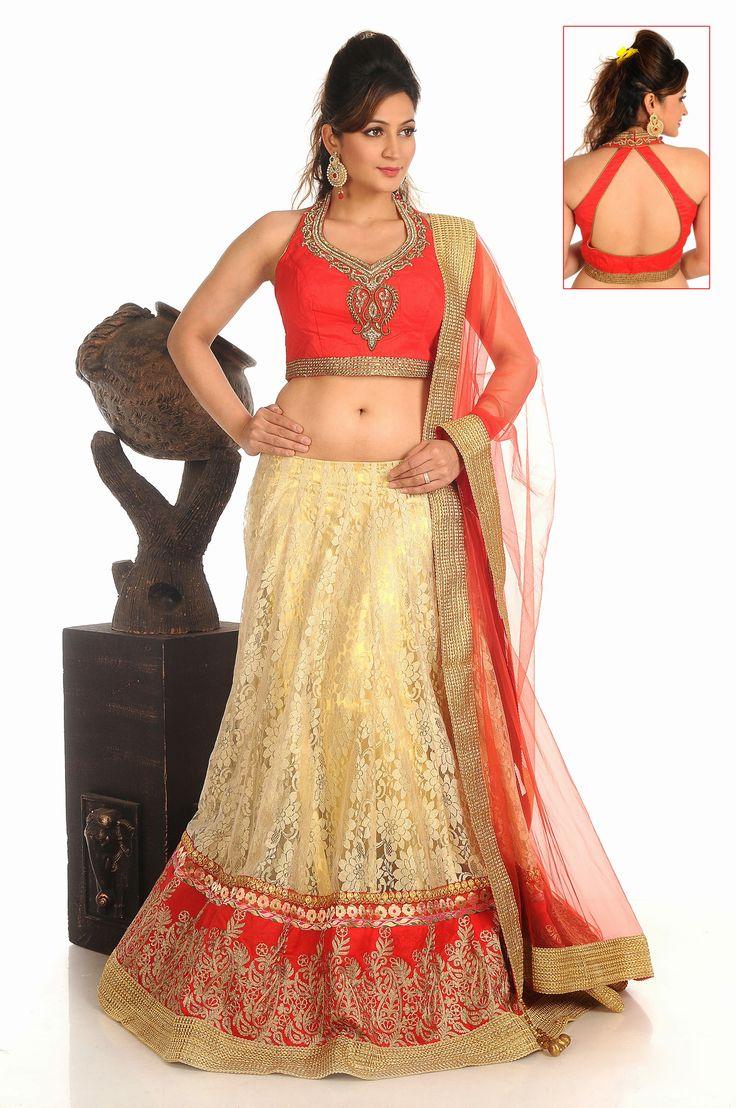 USD 380.01 Gold Net Wedding Lehenga Choli   39857