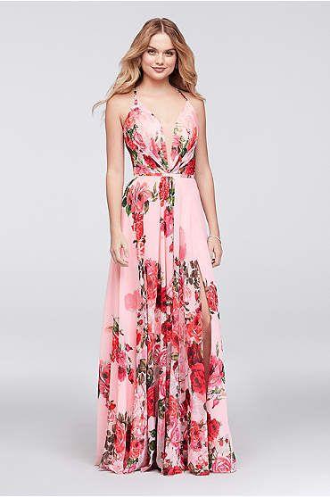9efbd6e209db Slit Skirt Floral Chiffon A-Line Gown | Women's Fashion that I love ...