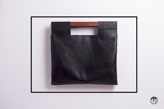LESS is BAG Black BIG- Deep black leather handbag with beechwood handle, double inner pouch, internal division and snap-hook for keys