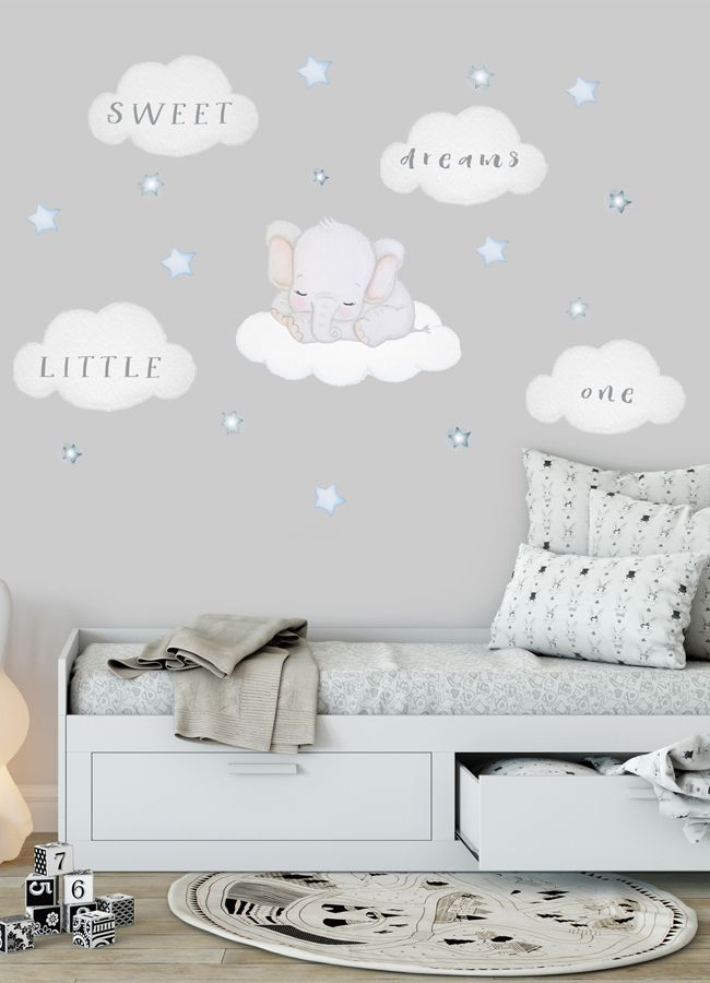 Elephant Wall Decal Nursery Wall Sticker Elephant On Cloud Decal Baby Room Wall Sticker Elephant Nursery Wall Decal Sweet Dreams Little One Baby Room Wall Stickers Nursery Wall Decals Boy Baby