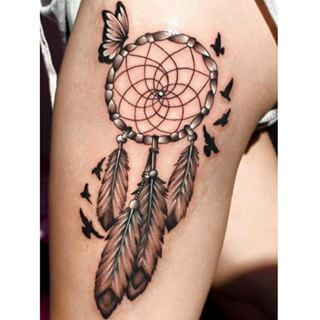 feather #feathertattoo # Dreamcatcher Tattoos With ...
