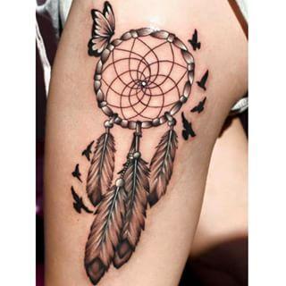 ... feather #feathertattoo # Dreamcatcher Tattoos With Butterflies