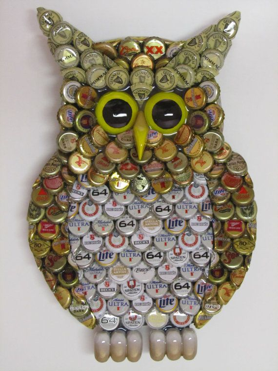 Owl wall art with metal bottle cap owl sculpture with for Bottle cap wall