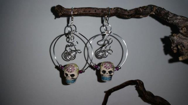 Sugar Skull Silver Tribal Hoop Earrings £12.00