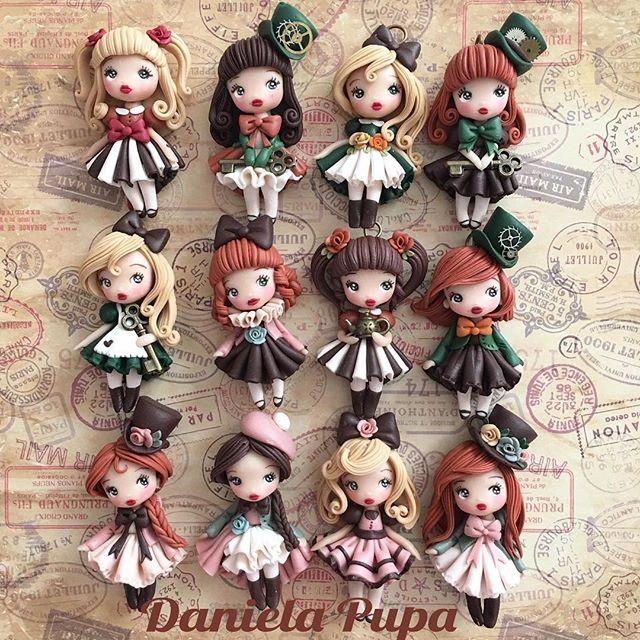 #Steampunk #Lolita #dolls  Disponibili al #mercatinogiapponese domenica 4 Dicembre presso il Caffè Letterario via Ostiense 95 #roma  #danielapupa #handmade #jewels #polymerclay #fimodoll