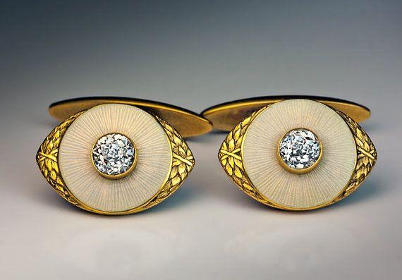 Vintage or 14K, perle émail blanc guilloché et boutons de manchettes par Joseph Marshak