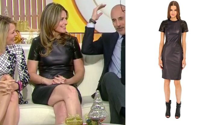 Lady in Leather! Get details on Savannah Guthrie's Leather Short Sleeve Dress here: https://www.bigblondehair.com/savannah-guthries-leather-short-sleeve-sheath-dress/ #Today #TodayShow