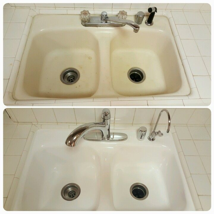 Tired Sinks Come To Life With Reglazing   Add New Fixtures To Really Make  It Pop
