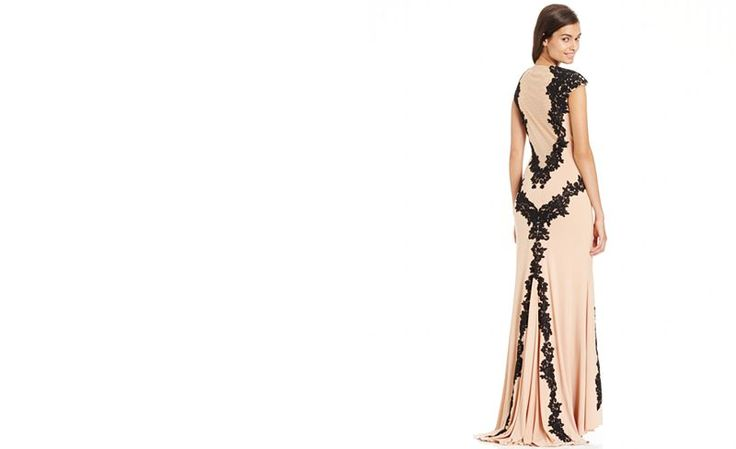 Betsy Amp Adam Lace Overlay Keyhole Gown Dresses Women