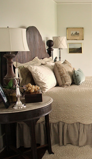 Beautiful retreat!I was asked to describe my color palette, and I have long described the colors I use in the house as the colors you would see in a dried hydrangea-  aged, muted, worn color.  In this room I would say I have used more of the neutral tones from those dried petals.