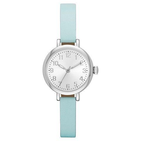 Women's Value Skinny Strap Watch - Mint/Silver