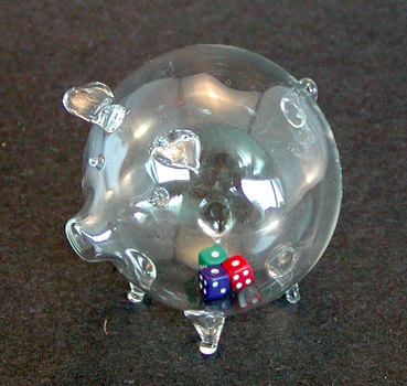 Glass Piggy with 3 Dices