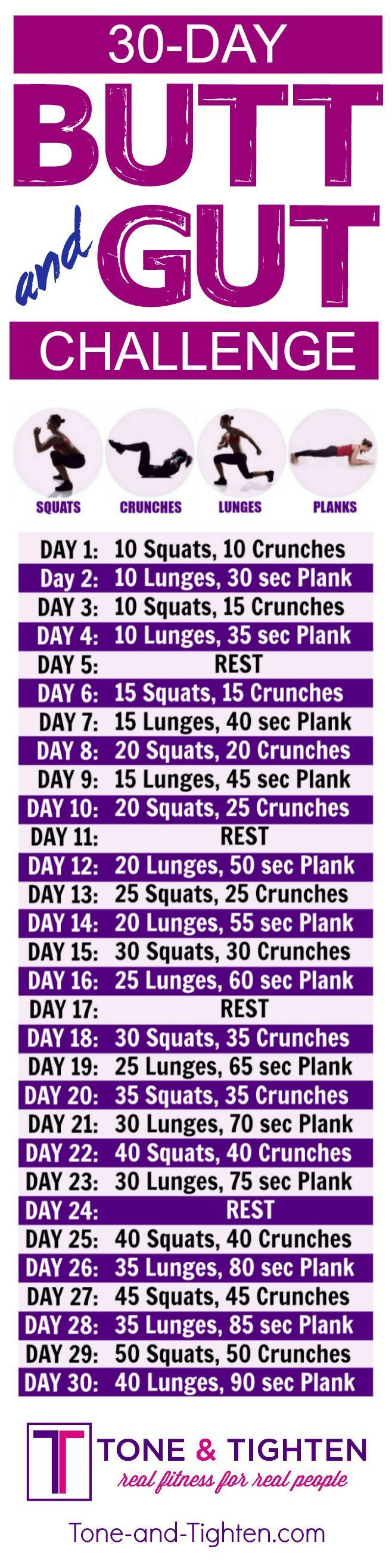 30-Day butt and abs workout challenge you can do from home! | Tone-and-Tighten.com