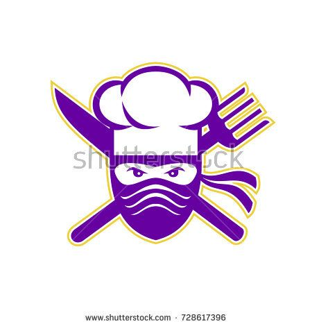 Icon style illustration of a Ninja Chef, cook or baker with Crossed Knife and Fork on isolated background.  #ninja #chef #icon #illustration