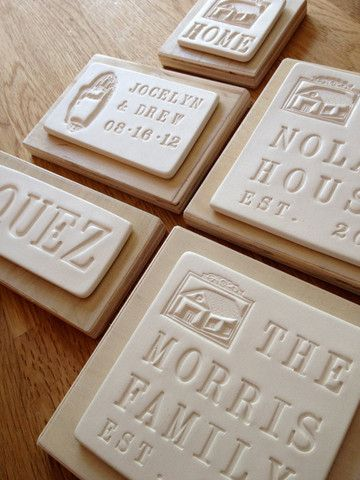 Love these custom house plaques Salt dough and stamps perhaps?  http://rstyle.me/n/ghhkmnyg6