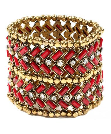 Take a look at this Ruby & Gold Napeague Stretch Bracelet by Amrita Singh on #zulily today!