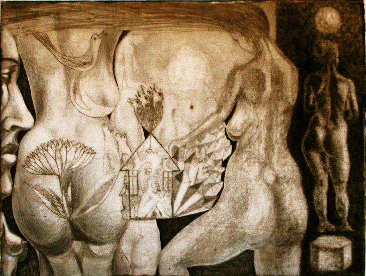 compozitie erotica.studiu tehnic cu forme anatomice.gravura in tehnica mixta cu interventii in creion.2