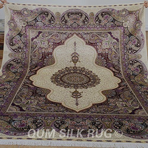 Yilong Persian Silk Rugs For Antique New Design Purple Kashmiri Handmade Carpet