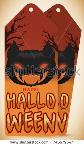 Tags with ferocious dark bat design and some branches for Halloween celebration.