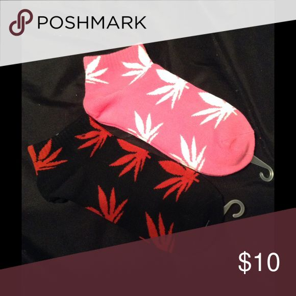 2 Pairs 420 Marijuana Socks Hemp Leafs 2 Multi colored 420 Marijuana Socks Hemp Leafs! Black & Red, Pink & White Accessories Hosiery & Socks