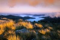 looking over the queen charlotte sound, mt stokes sunset march 2009 marlborough new zealand