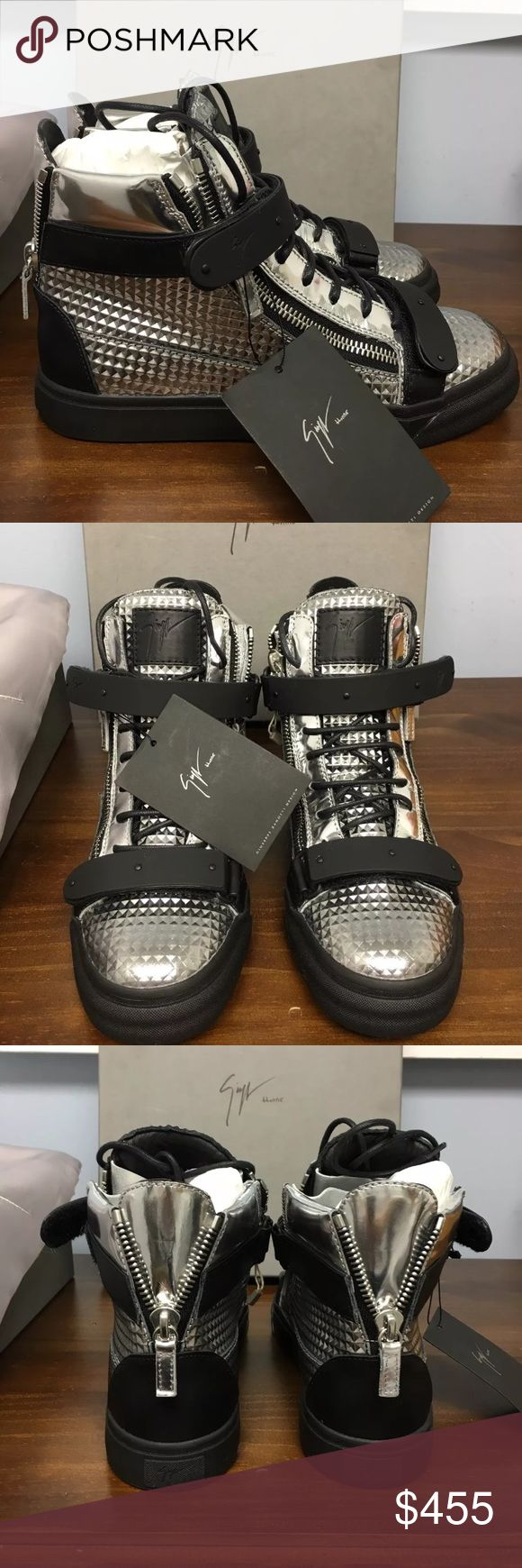 Giuseppe Zanotti Silver/Black Brand new never worn pairs in stock comes with original boxes! Text me if your interested in purchasing today. Posh takes a big percentage out of sale but being protected with a safe sale is my biggest priority! Giuseppe Zanotti Shoes Sneakers
