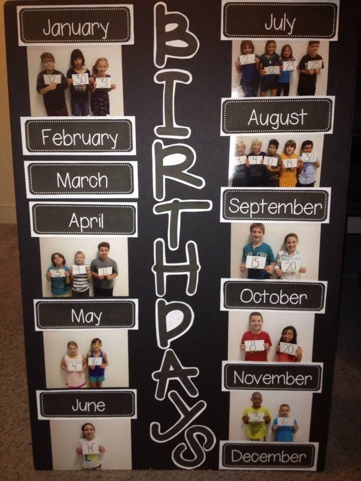 "Birthday board I made for my kiddos. I downloaded the months off of Teachers Pay Teachers and used one of my fonts on Word to print out the word ""birthday."" The parents and kids love the new display for the classroom :)"