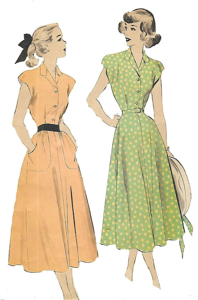 "Vintage 1940's Sewing Pattern WW2 Teenage Tea Dress Pockets & Belt B29"" #Advance"