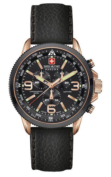 Relojes suizos reloj del cuarzo de los hombres de la flecha de militares con esfera de color negro con función cronógrafo y correa de cuero negro 6-4224 09,007.