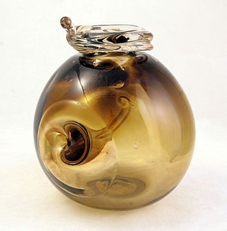 Mid 20th Century Vortex Vase by Robert C. Fritz one of the founding fathers of the 1960s studio glass movement.