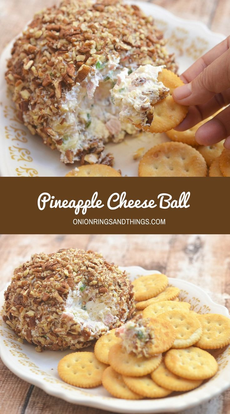 Pineapple Cheese Ball made of cream cheese, chopped ham, crushed pineapple, red bell peppers, celery, green onions, and pecans. A delicious medley sweet and savory, it's a must for any holiday gathering!