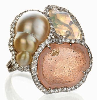 Kimberly McDonald geode, baroque pearl, fire opal and diamond ring
