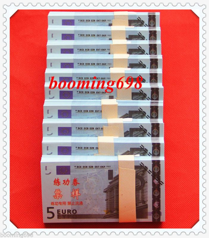 Banknote: Lots Of 1000 Pcs China Bank Staff 5 Euros Training Banknotes Paper Money/Unc