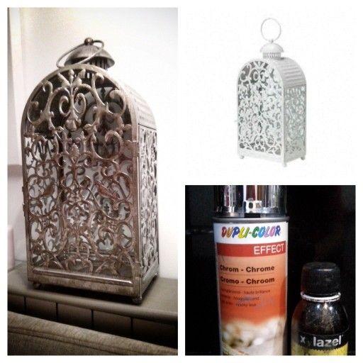 Transforma el farolillo blanco #gottgora de #ikea con spray cromado y betún de judea para darle aspecto #envejecido