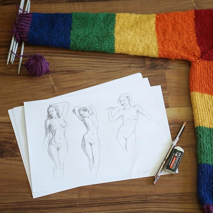 Taking a break from knitting my rainbow sweater to work on drawing anatomy. Figure sketches are such a challenge but learning art is so rewarding!