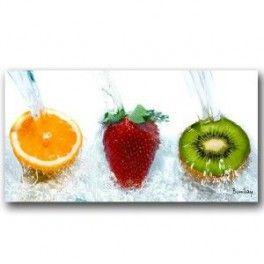 Tableau Trio de Fruits: Orange Fraise Kiwi Fond Blanc 40 x 80 cm. Imprimé en haute définition sur toile canvas 100% coton. Chassis à clé en sapin. Fabrication Française. Livraison : 7 jours.