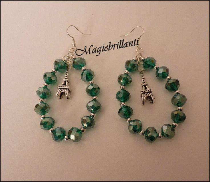 Orecchini crystal green