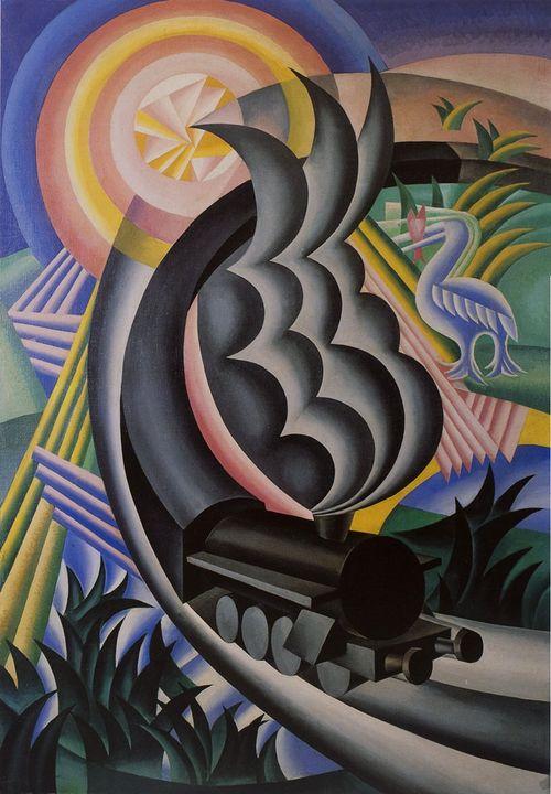 Futurismo - Train Born Out of the Sun (1924) by Fortunato Depero