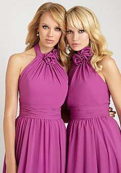 halter ruched hand-made flower a-line chiffon empire bridesmaid dress