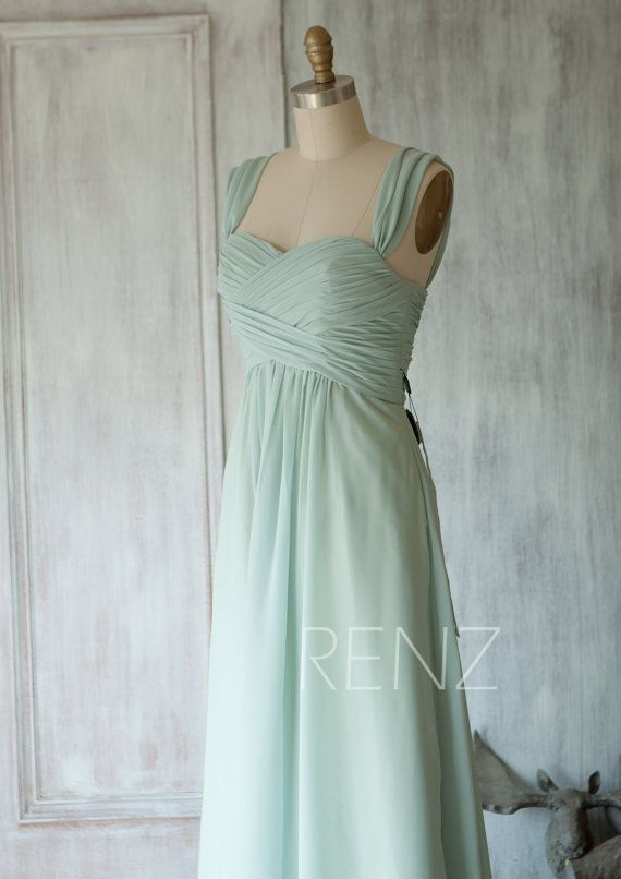 2015 Dusty Shale Long Chiffon Bridesmaid dress Empire von RenzRags