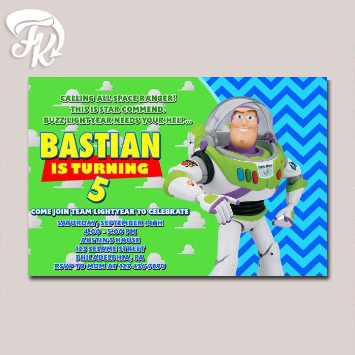 549 best Birthday Invitation Card images – Buzz Lightyear Birthday Card