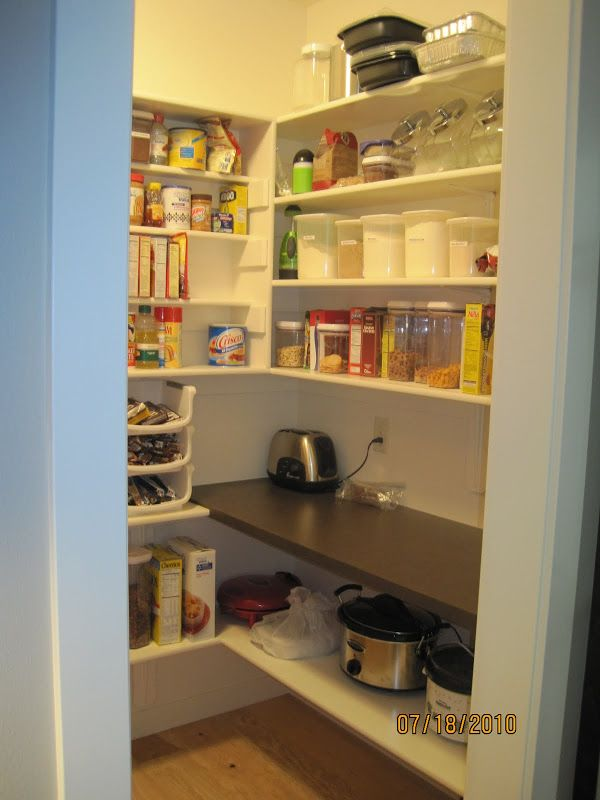 walk in pantry with an outlet and countertop. LOVE This idea for the walk in pantry