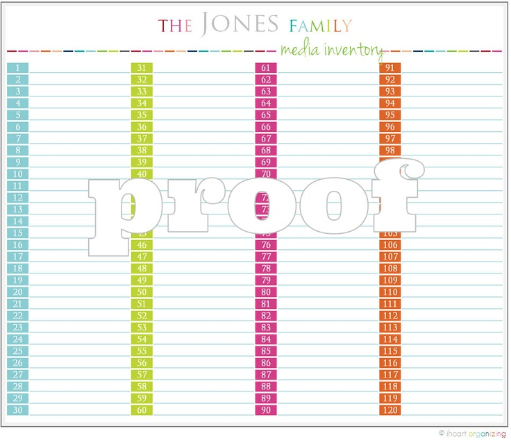 Personalized Media Inventory Printable by IHeartOrganizing on Etsy