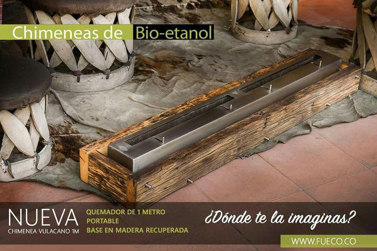Quemador de bioetanol marca  #Fueco de 1mt.