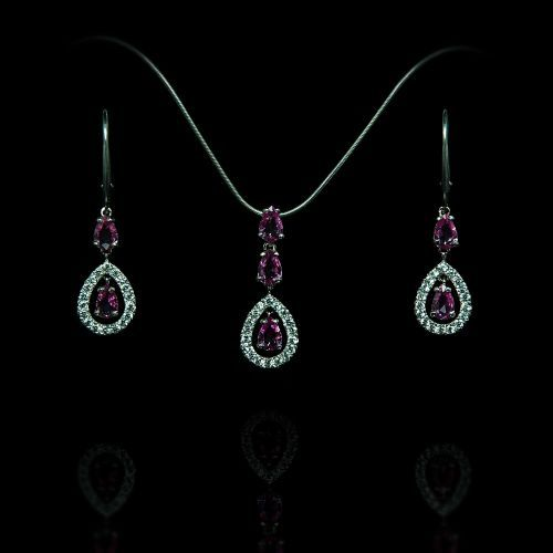 Pink sapphire earrings and necklace set.