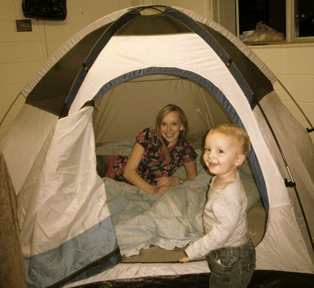 """KING BENJAMIN TENT:  love the tradition of """"camping"""", in backyard or inside the front room :), on the Friday or Saturday night before General Conference. You can talk about the story of King Benjamin and how the people listened to the prophet's message in their tents! ... you could also also make tin foil dinners in the oven, smores in the broiler, have flashlights and stories..."""