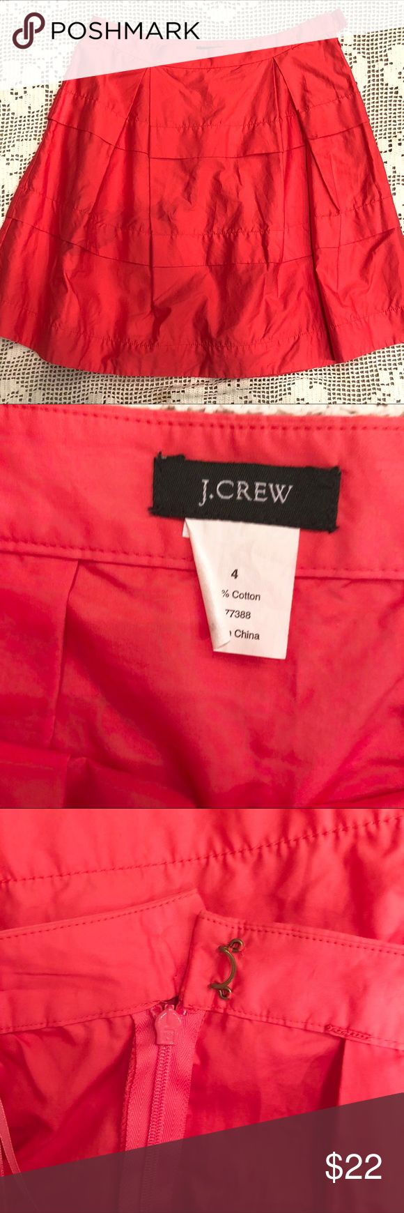 J. Crew Coral Full Pleated Skirt Sz 4 J. Crew Coral Full Pleated Mini Skirt. Missing part of hook closure, otherwise a nice Skirt! Size 4 from a smoke free pet free home J. Crew Skirts Mini