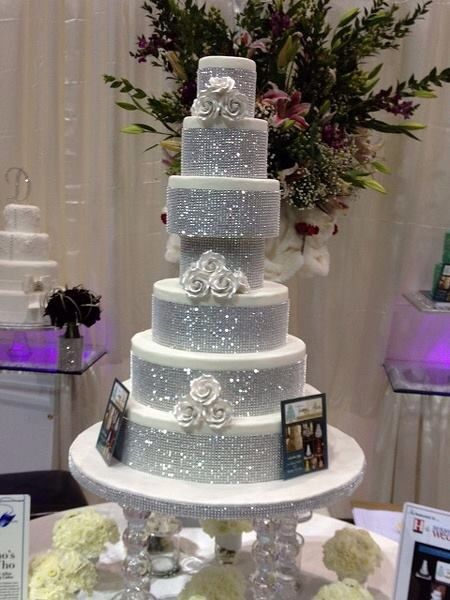 Tammy Allen Cakes Of Houston Tx Beautiful Wedding Cake With Sparkling Bling